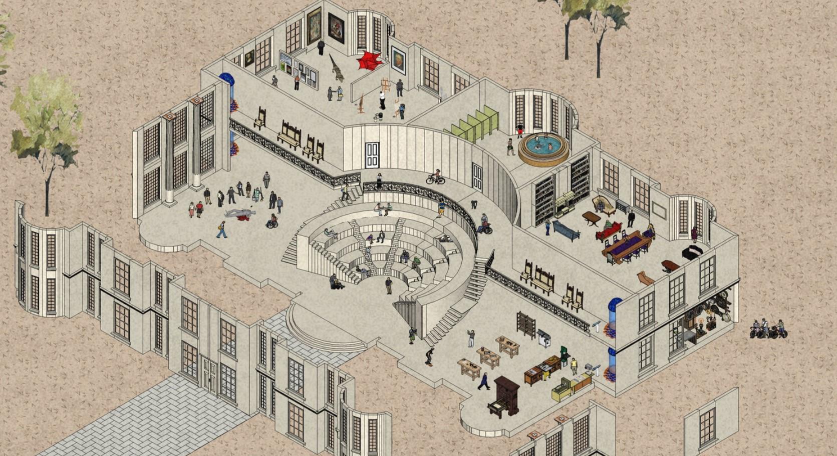 Le plan du manoir virtuel où s'est tenu le premier Intercollégial des publications littéraires et artistiques.